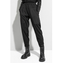 Casual Womens Pants Sherpa Liner Elastic Waist Ankle Length Relaxed Pants in Black