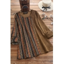 Unique Womens Blouse Patchwork Contrast Tribal Panel Round Neck Long Sleeves Relaxed Fit Pullover Blouse