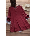 Trendy Women's Blouse Plaid Pattern Button Front Side Split Round Neck Long Sleeves Loose Fitted Pullover Blouse