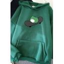 Trendy Women's Hoodie Frog Pattern Kangaroo Pocket Ribbed Trim Long Sleeves Relaxed Fit Hooded Sweatshirt