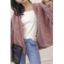 Elegant Women's Fur Coat Solid Color Fur Fleece Open Front Long Sleeves Relaxed Fit Fur Coat
