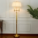 Gold Candlestick Floor Lamp Traditional Metal 2-Head Living Room Floor Light with Pleated Shade