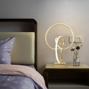 Metal Cycling Nightstand Lamp Creative Minimalist Gold LED Table Lighting in 3 Color Light/Remote Control Stepless Dimming
