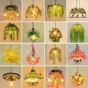 Hemp Rope Wheel Chandelier Light Cottage 6 Heads Bistro Flower Hanging Lamp in Pink/Green