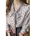 Leisure Women's Shirt Blouse All over Print Tie Front Long Sleeves Regular Fitted Shirt Blouse