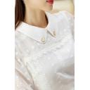 Fancy Women's Shirt Blouse Jacquard Detail Peter Pan Collar Long Puff Sleeves Regular Fitted Shirt Blouse