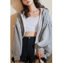 Casual Women's Jacket Solid Color Zip Fly Ruffles Side Pocket Long Sleeves Relaxed Fit Jacket