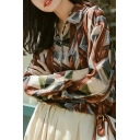 Girls Designer Shirt Patterned Long Sleeve Spread Collar Loose Fit Shirt in Brown