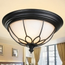 Dome Foyer Ceiling Lighting Classic Opal Glass 2-Light Black Small/Medium/Large Flush Mount Fixture with Floral Frame