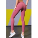 Casual Girls Leggings Solid Color Mid Rise Ankle Length Skinny Leggings
