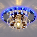 3/5w Flower-Like Clear Crystal Flush Mount Contemporary Mirrored Chrome LED Ceiling Light in Blue/Purple/3 Color Light