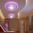3/5w Clear Crystal Floral Ceiling Lamp Romantic Modern LED Flushmount with Peacock Tail Trim, Warm/Blue/Pink Light