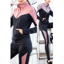 Popular Womens Set Contrasted Long Sleeve Stand Collar Zip Up Relaxed Jacket Crop Tank T-shirt Leggings Set