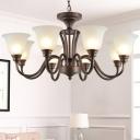3/10/24-Light Bell Hanging Lamp Rustic Brown Sandblasted Glass Ceiling Chandelier for Bedroom