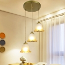 1/3-Bulb Pendant Light Fixture Rustic Carillon/Bell/Flower Frosted Glass Ceiling Light with Round Canopy in Gold