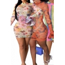 Fancy Women's Bodycon Dress Transparent Detail Butterfly Tie Dye Graphic Pattern Mock Neck Long Flare Cuff Sleeves Slim Fitted Mini Bodycon Dress