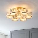 Postmodern Floral Ceiling Flush Light Crystal Prism 5/7-Light Bedroom Semi Flush Mount in Gold, 28.4