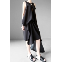 Retro Women's Tank Dress Solid Color Crew Neck Sleeveless Pleated Detail Knee Length Relaxed Fit Tank Dress