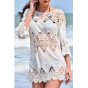 Womens Dress Trendy Scalloped Trim Hollow out Crochet Applique Crew Neck 3/4 Sleeve Regular Fitted Mini Beach Cover up Dress