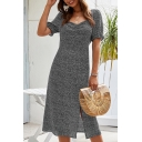 Stylish Ladies Ditsy Floral Patterned Stringy Selvedge Short Sleeve Sweetheart Neck Ruched Slit Front Mid A-line Dress