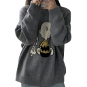 Cartoon Snoopy Jacquard Crewneck Long Sleeve Loose Cozy Gray Sweater