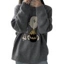 Cartoon Snoopy Jacquard Crewneck Long Sleeve Loose Cozy Gray Sweater