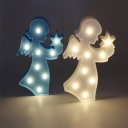 Angel Small LED Wall Night Light Nordic Style Plastic Bedroom Battery Wall Lamp in Pink/Blue/White