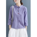Stylish Women's Shirt Multi Color Button Fly Turn-down Collar Long Sleeves Regular Fitted Shirt Blouse
