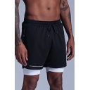 Active Shorts Contrast Piping Drawstring Waist Side Pockets Fully Lined Double-Layered Regular Fitted Shorts