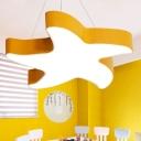 Starfish Kindergarten Ceiling Lamp Metal Cartoon LED Flush-Mount Light Fixture in Pink/Red/Yellow