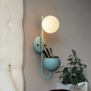 Milky Glass Ball Wall Lamp Novelty Macaron Single Yellow/Blue/Green Reading Wall Light with Dome Container