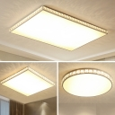 Simplicity Round/Square Flush Mount Crystal Encrusted Bedroom LED Ceiling Lighting in White, Small/Medium/Large