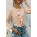 Ladies Elegant Solid Color Long Sleeve Round Neck Ruffled Trim Button Up Fit Shirt Top