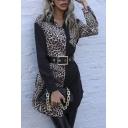 Elegant Leopard Pattern Long Sleeve Spread Collar Button-up Belted Curved Hem Long Shirt in Black