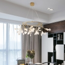 Firefly Clear Glass Chandelier Contemporary 45/63/81 Heads Black/Gold Circle Hanging Lamp over Dining Table