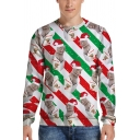Mens Sweatshirt All Over Cat Stripe 3D Pattern Long Sleeve Crew Neck Relaxed Chic Pullover Sweatshirt in Red-green