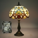Baroque Hemispherical Table Lighting 1 Head Stained Glass Nightstand Light in Gold