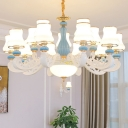 6/8/10 Heads Flared Chandelier Traditional White Frosted Glass Ceiling Suspension Lamp for Bedroom