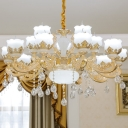 Opal Glass Flowerbud Pendant Light Traditional 8/12/15 Heads Living Room Chandelier in Gold with Draping Crystal