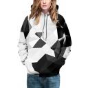 Fancy Mens Hoodie Digital Graphic 3D Pattern Front Pocket Long Sleeves Regular Fitted Drawstring Hooded Sweatshirt