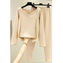Trendy Women's Co-ords Solid Color Panel V Neck Long Sleeves Slim Fitted Tee Top with Elastic Waist Long Pants Bottoming Set