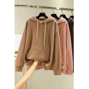Casual Women's Hoodie Solid Color Kangaroo Pocket Long Sleeves Regular Fitted Drawstring Hooded Sweatshirt