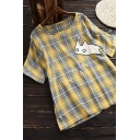 Youthful Womens Tee Top Tartan Cat Cartoon Print Rolled up Round Neck Short Sleeves Relaxed Fit T-Shirt