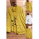 Leisure Women's Shirt Blouse Butterfly Pattern Chest Pocket Round Neck Asymmetrical Hem Long Sleeves Relaxed Fit Shirt Blouse