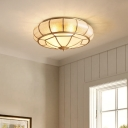 Donut Shaped Living Room Ceiling Light Vintage Water Glass 4/6 Lights Gold Flush Mounted Lamp with Pointy Bottom