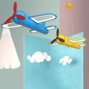 Aircraft Kindergarten LED Chandelier Metal Kids Small/Large Pendant Lighting in Yellow/Blue, Warm/White/3 Color Light