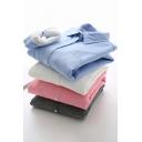 Womens Shirt Solid Color Long Sleeve Spread Collar Sherpa Liner Regular Formal Shirt
