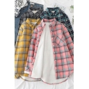 Popular Womens Shirt Sherpa Liner Long Sleeve Turn Down Collar Button Up Loose Shirt Top