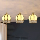 Flowerbud Shaped Frost Glass Pendant Vintage 3 Bulbs Dining Room Ceiling Hang Light in Gold with Round/Linear Canopy