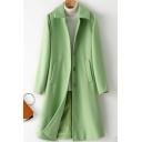 Hepburn Style Plain Coat Long Sleeve Spread Collar Button Up Longline Loose Fit Wool Coat